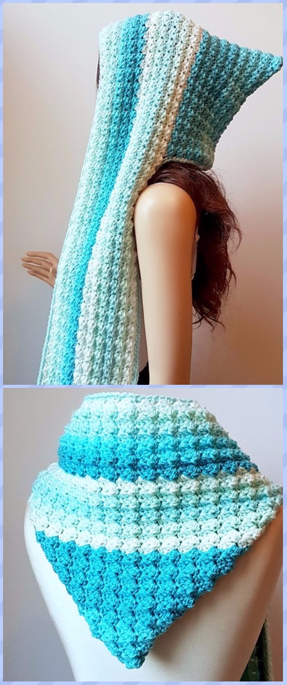 Crochet Hoodie Scarf Scoodie Free Patterns