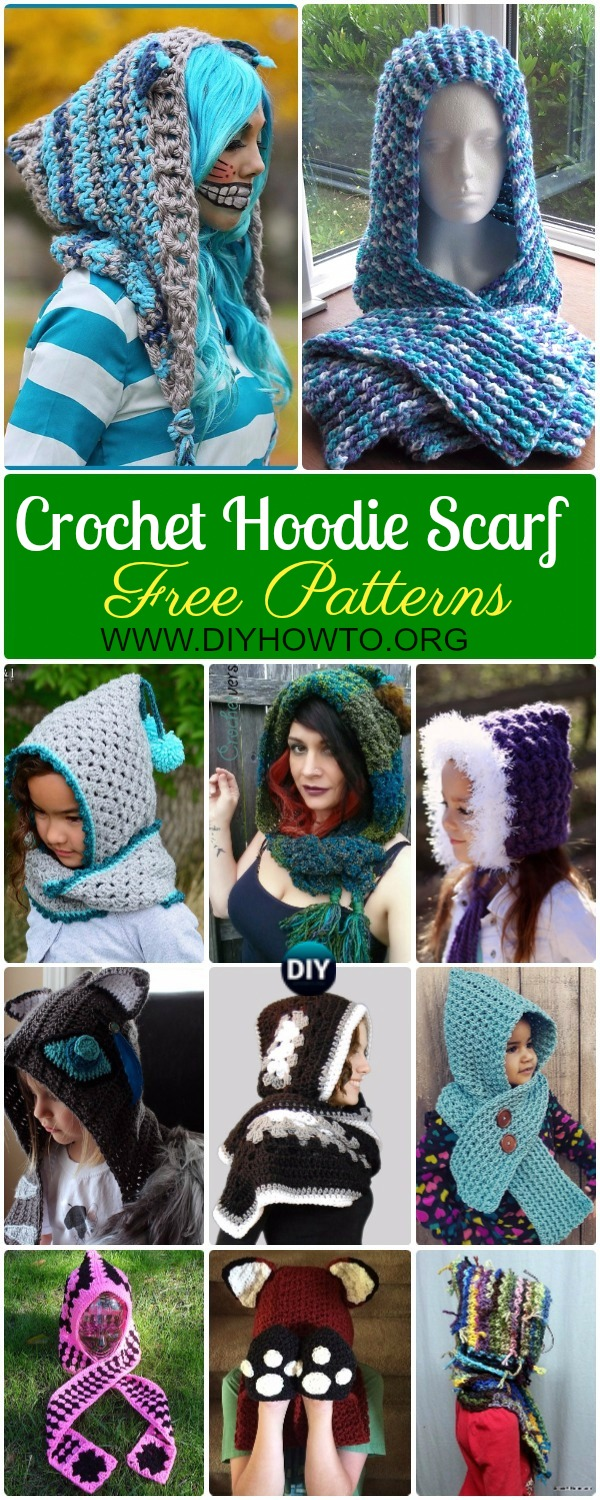 Collection of Crochet Hoodie Scarf Scoodie Free Patterns & Paid: Crochet Scoodie with Pocket, Animal Scoodie, Fox Hooded Scarf, Cat Scoodie & More