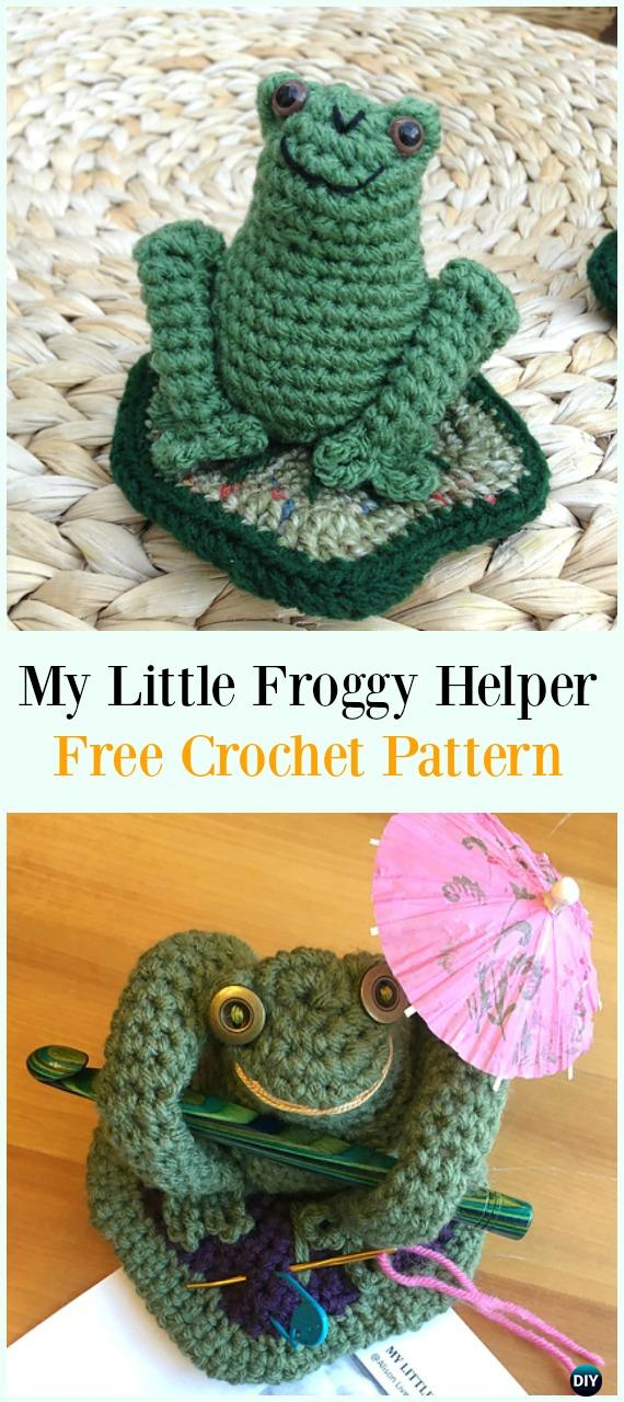 Crochet My Little Froggy Helper Free Pattern-#Crochet #HookCase & Holders Free Patterns