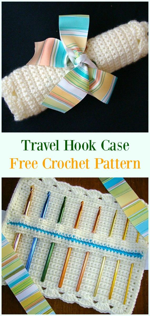 Crochet Travel Hook Case Free Pattern-#Crochet #HookCase & Holders Free Patterns