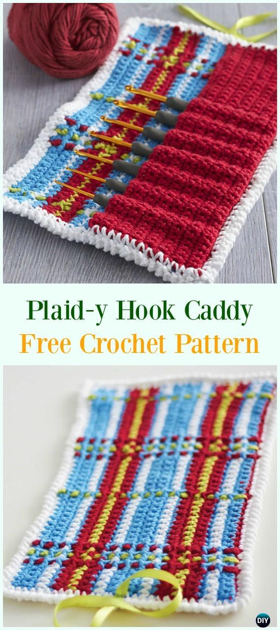 Crochet Plaid-y Hook Caddy Free Pattern-#Crochet #HookCase & Holders Free Patterns