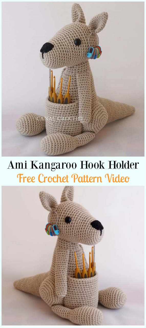 Amigurumi Kangaroo Hook Holder Crochet Free Pattern-#Crochet; #HookCase; & Holders Free Patterns