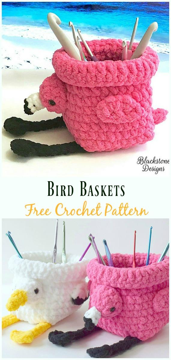 Crochet Bird Baskets Hook Holder Free Pattern-#Crochet #HookCase & Holders Free Patterns