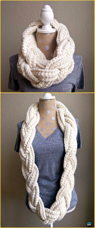 Crochet Braided Infinity Scarf Free Pattern Crochet Infinity Scarf