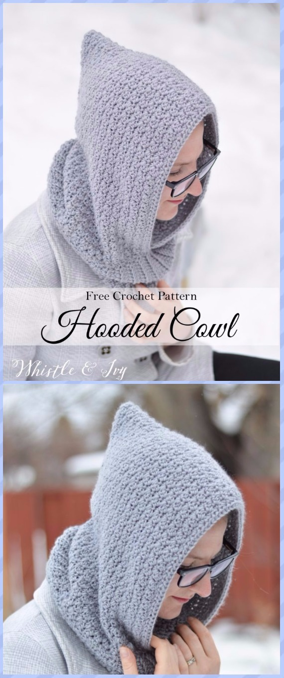 Crochet Women's Hooded Cowl Free Pattern - Crochet Infinity Scarf Free Patterns