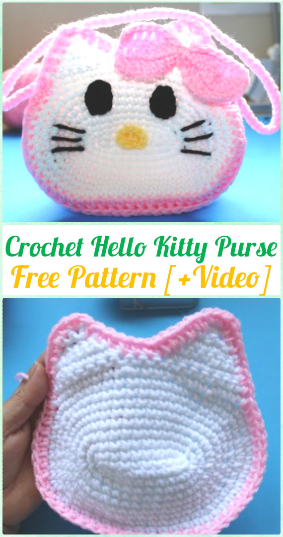 Crochet Hello Kitty Purse Free Pattern & Video - Crochet Kids Bags Free Patterns