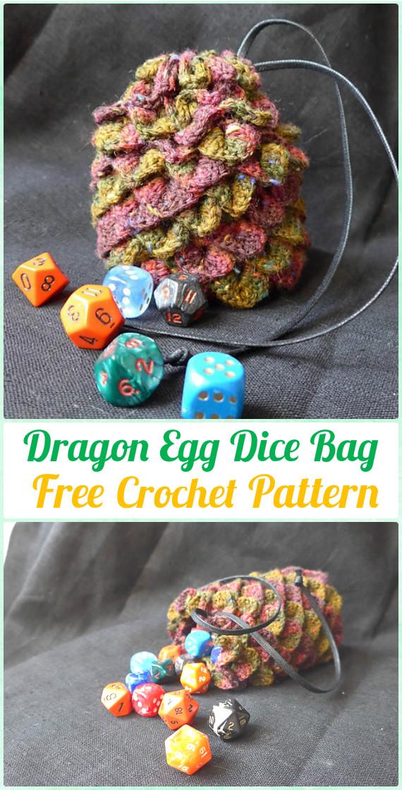 Crochet Dragon Egg Dice Bag FreePattern - Crochet Kids Bags Free Patterns
