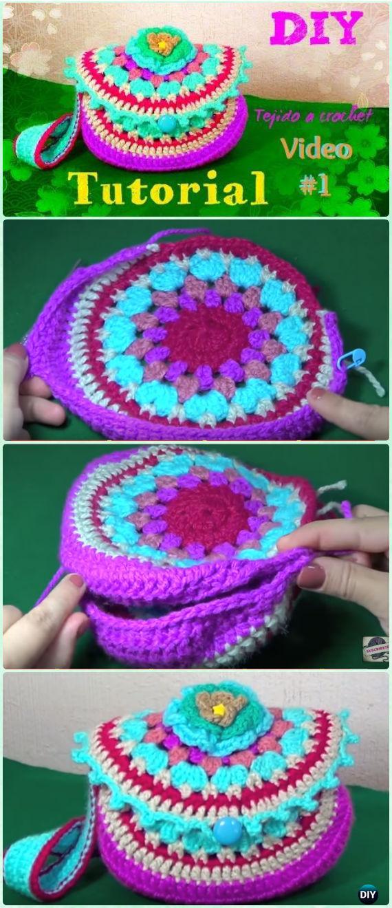 Crochet Granny Circular Shoulder Bag FreePattern Video - Crochet Kids Bags Free Patterns