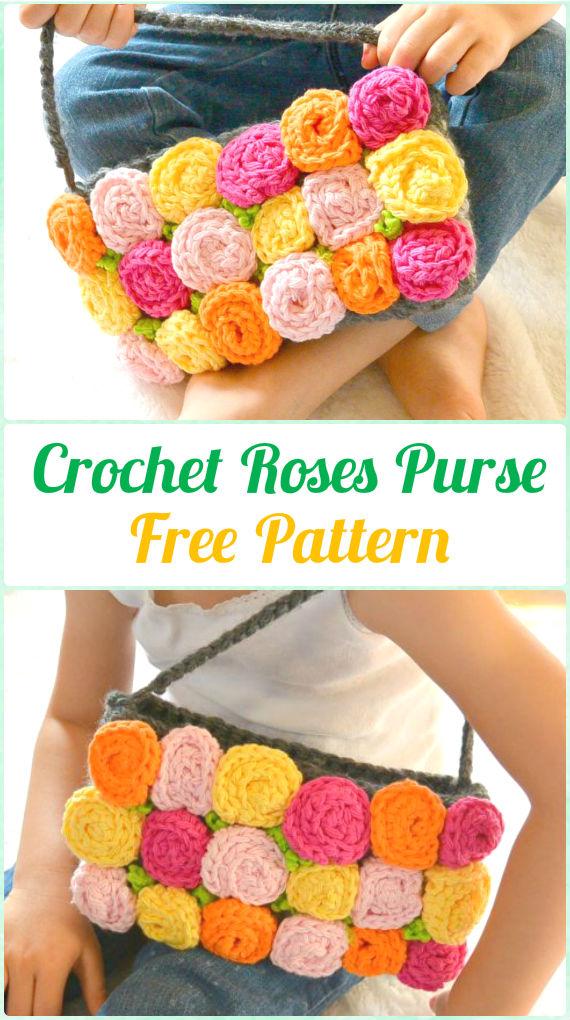 CrochetRoses Purse FreePattern - Crochet Kids Bags Free Patterns
