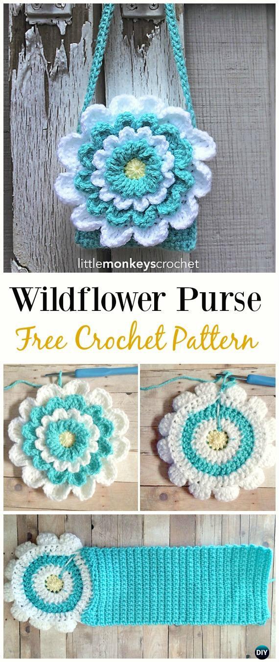 Little Girl's Wildflower Purse Free CrochetPattern - Crochet Kids Bags Free Patterns