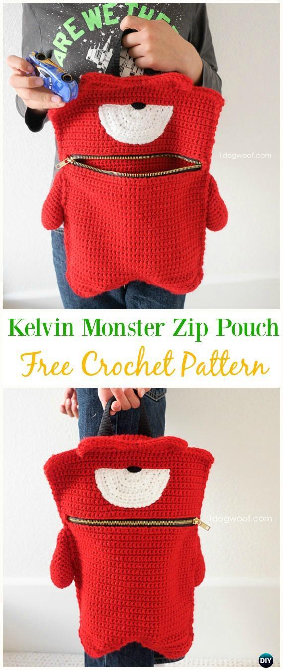 Kelvin Monster Zip Pouch Bag Free CrochetPattern - Crochet Kids Bags Free Patterns