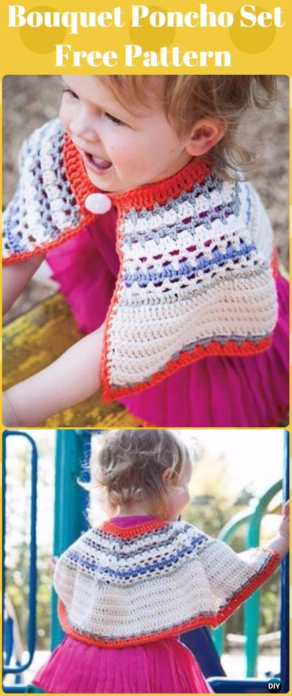 Crochet Bouquet Poncho and Bonnet Crochet Set Free Pattern - Crochet Kids Capes & Poncho Free Patterns