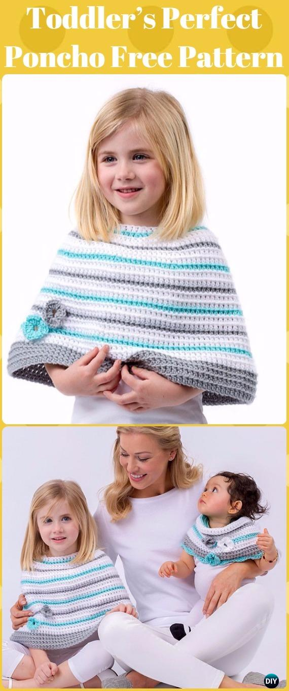Crochet Toddler's Perfect Poncho Free Patterns - Crochet Kids Capes & Poncho Free Patterns