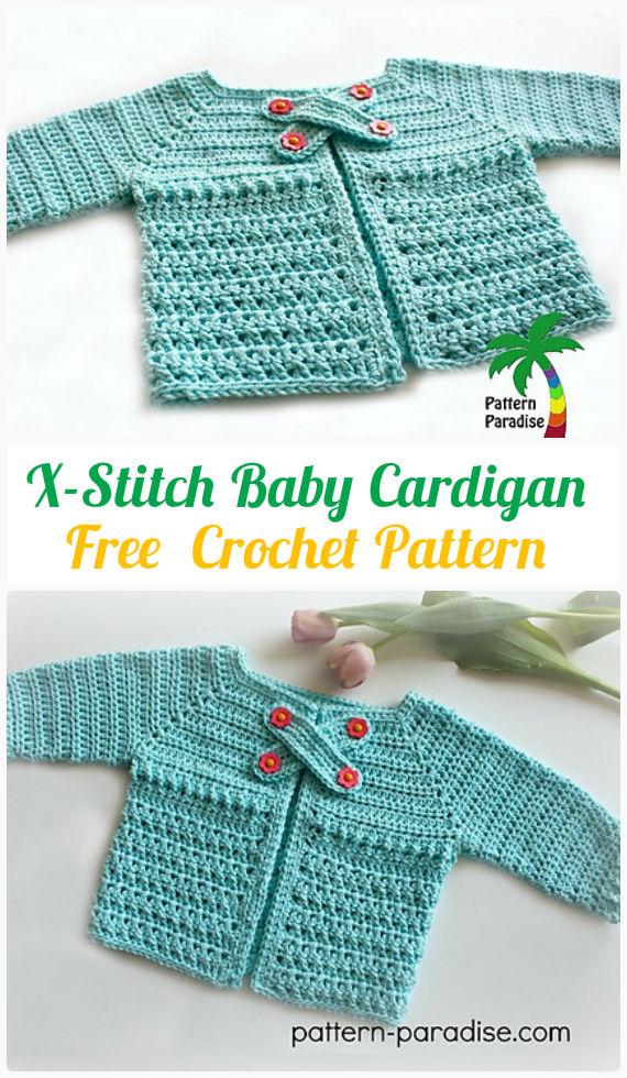 CrochetX-StitchBabyCardigan Free Pattern - Crochet Kid's Sweater Coat Free Patterns