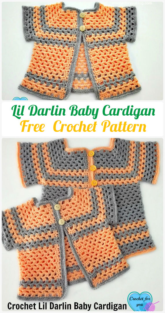 Crochet Lil Darlin Baby Cardigan Free Pattern - Crochet Kid's Sweater Coat Free Patterns