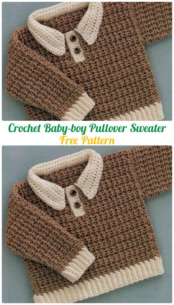 3bb907df8f57 Crochet Baby-boy Pullover Sweater Free Pattern - Crochet Kid s ...