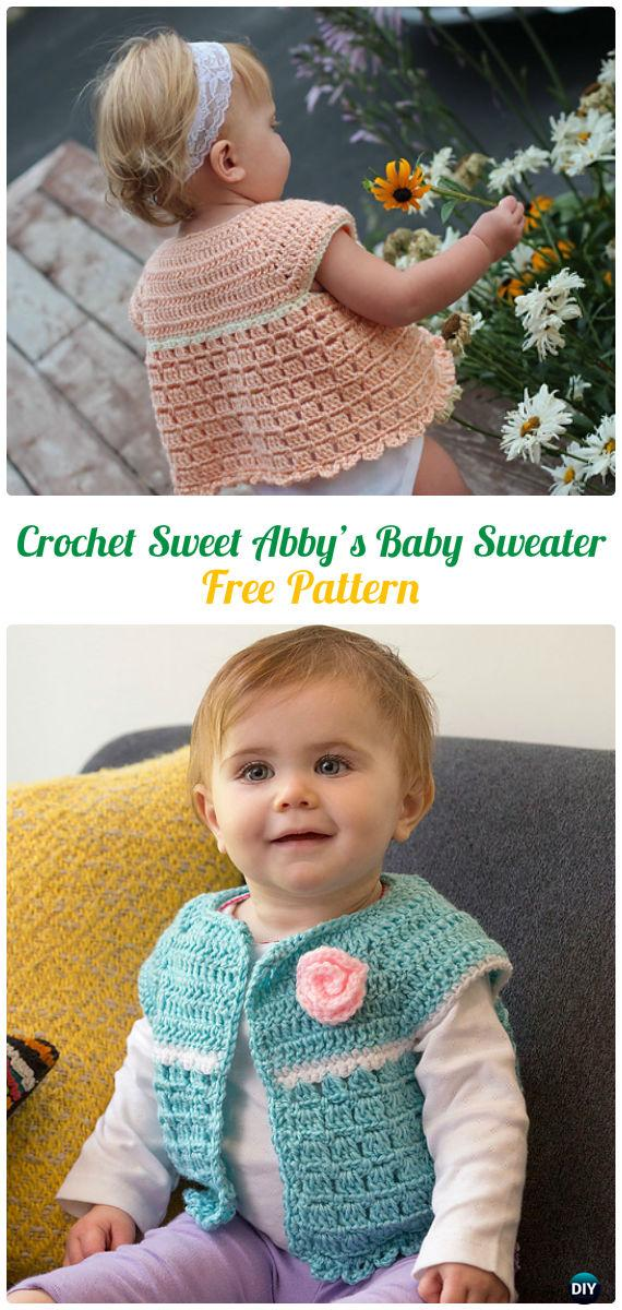 Crochet Sweet Abby's Baby Sweater Free Pattern - Crochet Kid's Sweater Coat Free Patterns