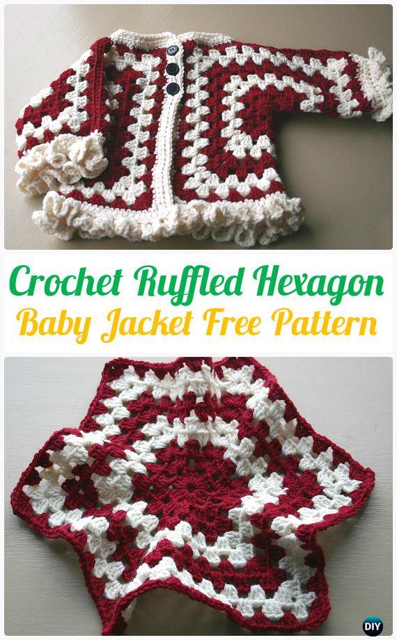 d8953fd1e8fa Crochet Ruffled Hexagon Baby Jacket Cardigan Sweater Pattern - Crochet  Kid s Sweater Coat Free Patterns