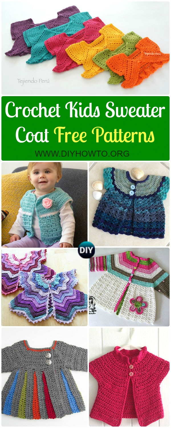 Crochet Kids Sweater Coat Free Patterns: Crochet Girls & Boys Sweaters, Cardigans, shrugs, and more