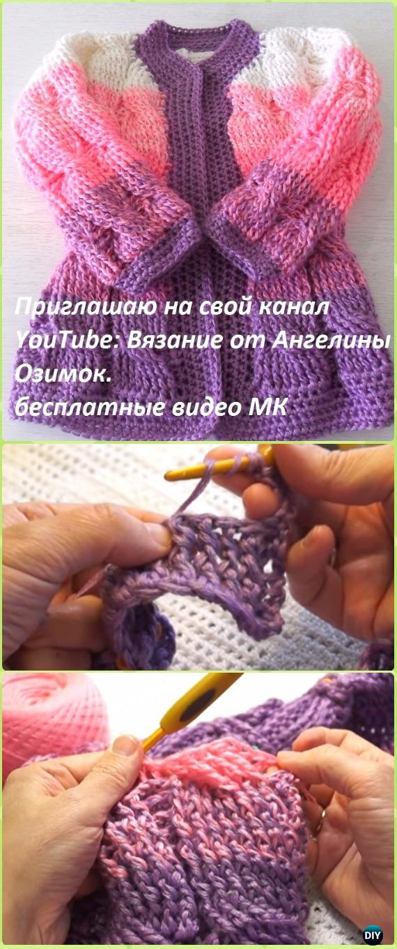 Crochet Ombre Cabled Baby Cardigan Free Pattern Video - Crochet ...