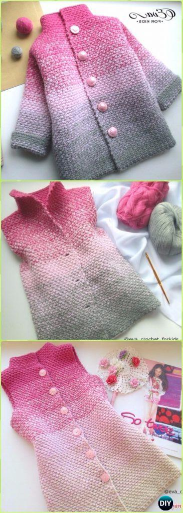 Crochet Glamorous Beauty Ombre Baby Cardigan Free Pattern Video ...