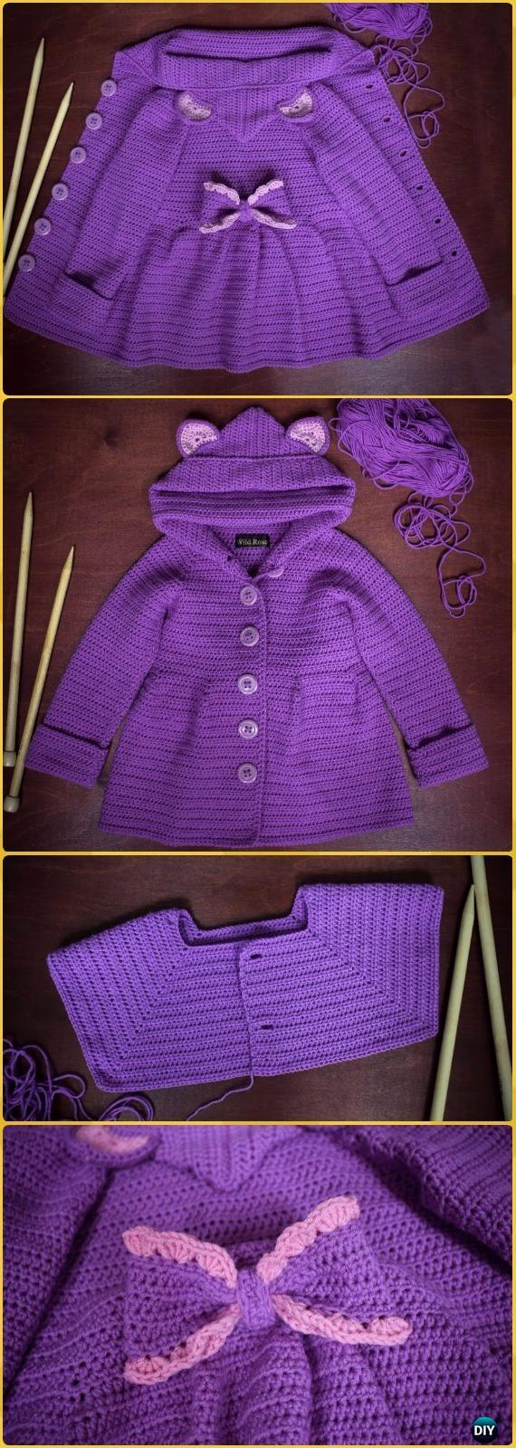 Crochet Kids Sweater Coat Free Patterns