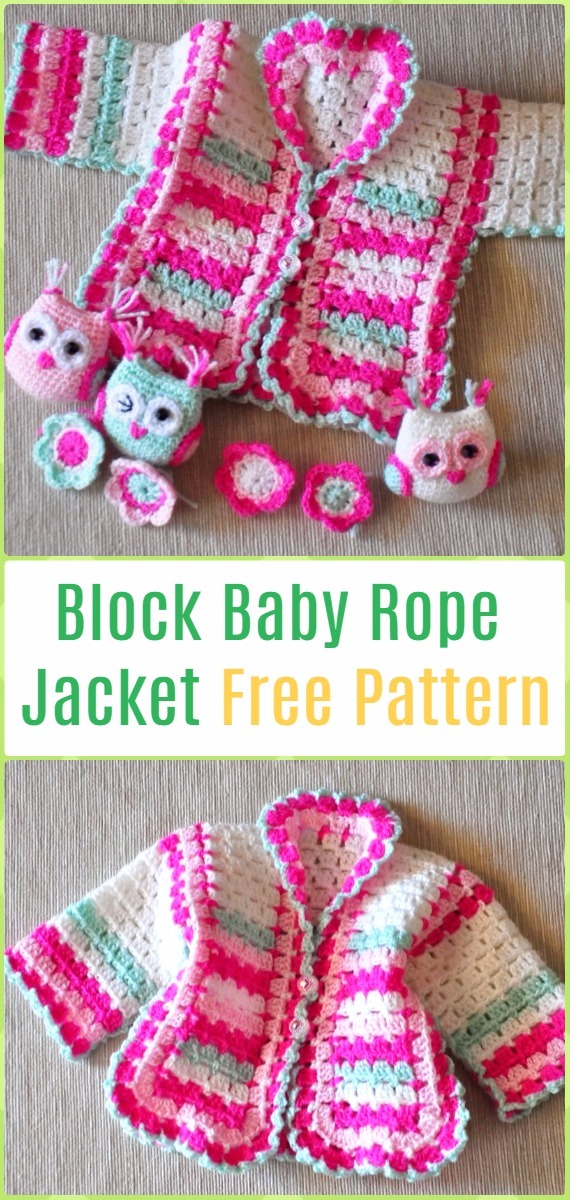 Crochet Block Baby Rope Jacket Cardigan Free Pattern - Crochet Kid's Sweater Coat Free Patterns