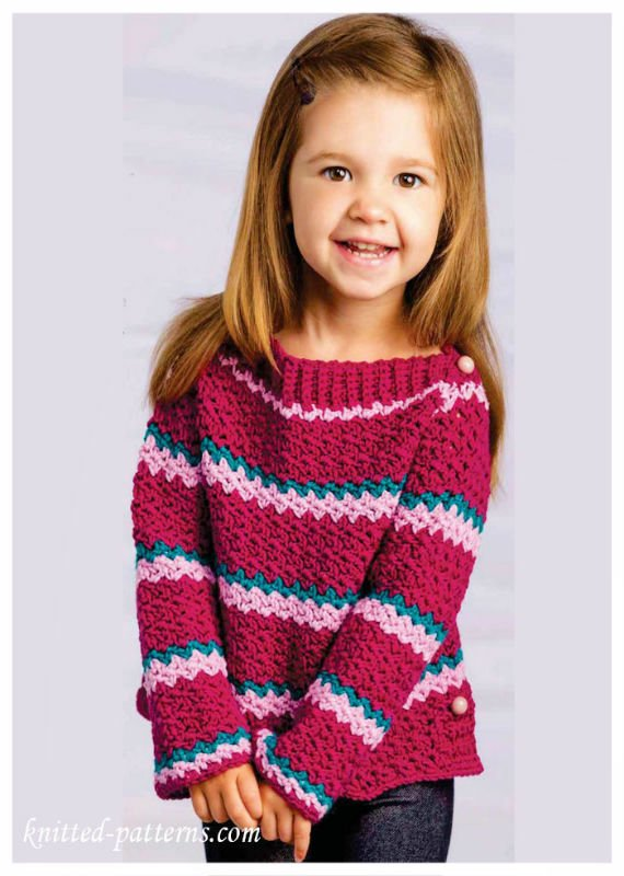 Crochet Little girl Sweater Free Pattern - Crochet Kids Sweater Tops Free Patterns