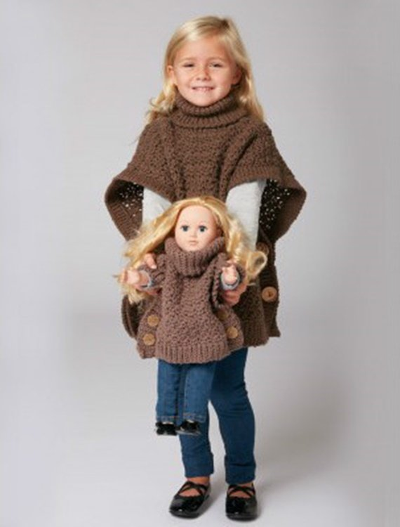 Crochet Bernat Poncho for you and me  Free Pattern - Crochet Kids Sweater Tops Free Patterns