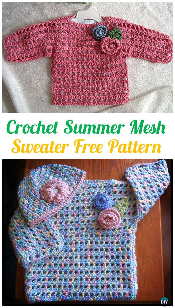 Crochet Summer Mesh Sweater Free Pattern - Crochet Kids Sweater Tops Free Patterns