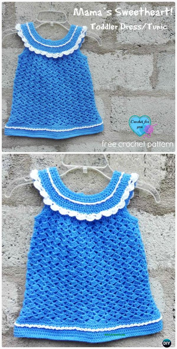 CrochetToddler Tunic Dress FreePattern - Crochet Kids Sweater Tops Free Patterns