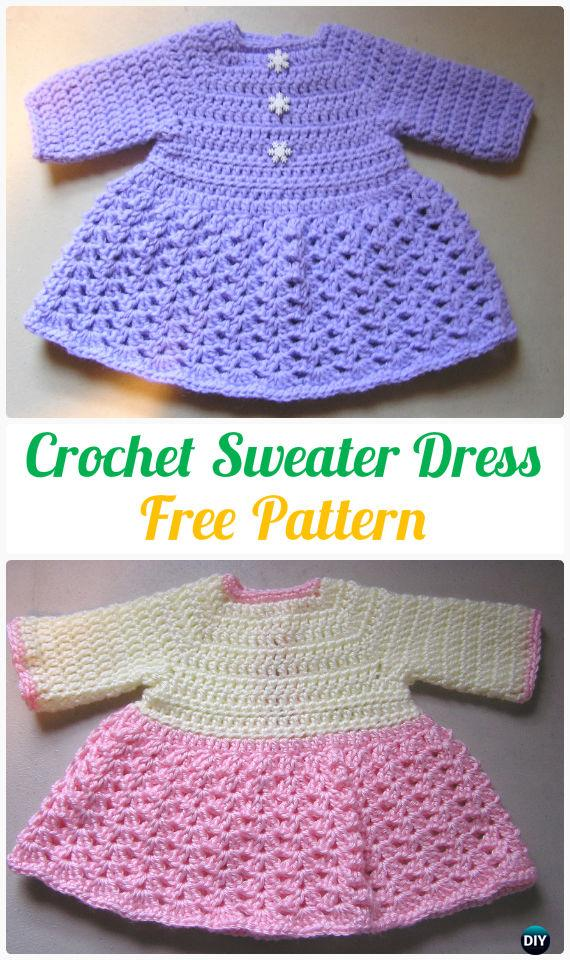 CrochetSweater Dress FreePattern - Crochet Kids Sweater Tops Free Patterns