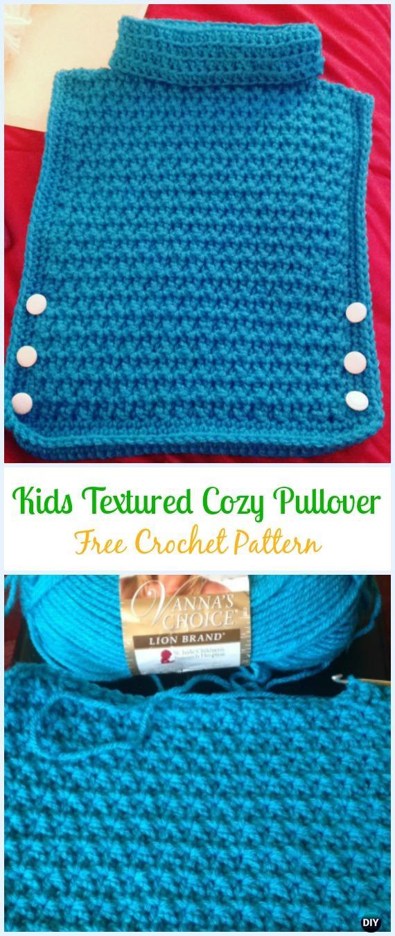 Crochet TexturedCozy PulloverFree Pattern - Crochet Kids Sweater Tops Free Patterns