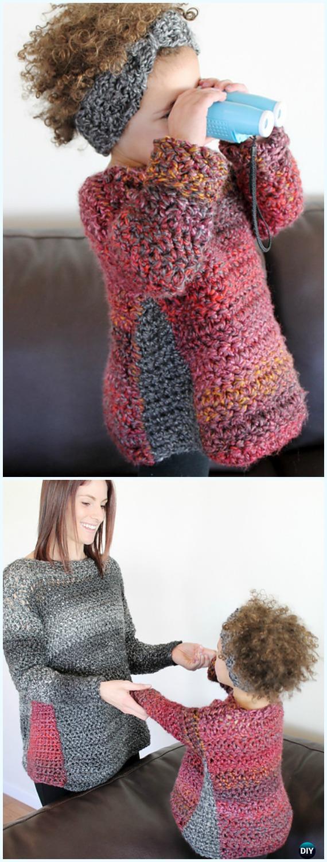 Crochet Duo Pullover SweaterFree Pattern - Crochet Kids Sweater Tops Free Patterns