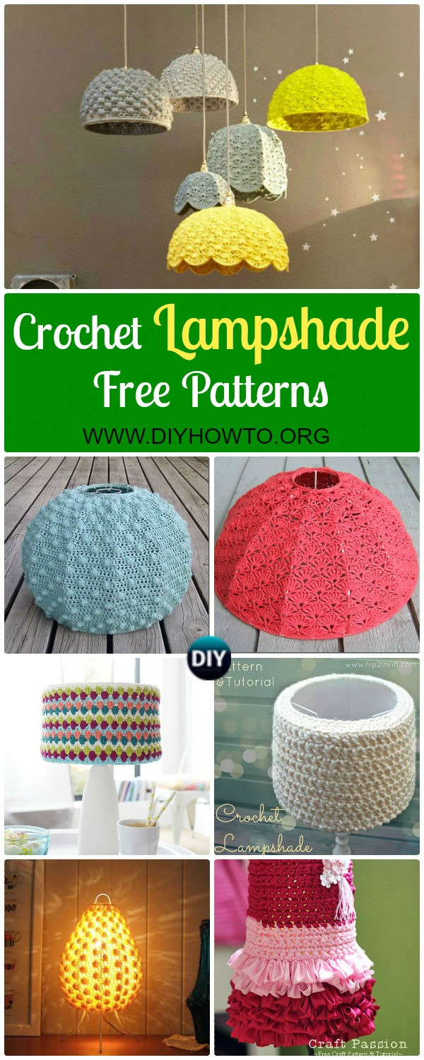Collection of Crochet Lamp Shade Free Pattern: Crochet LampShade Makeover Free Patterns. Crochet Lamp Shade Cover, Chandelier