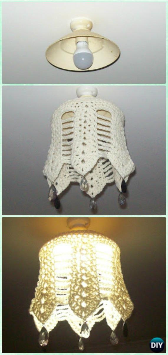 Crochet Shell Stitch Light Shade Free Pattern Crochet Lamp Shade