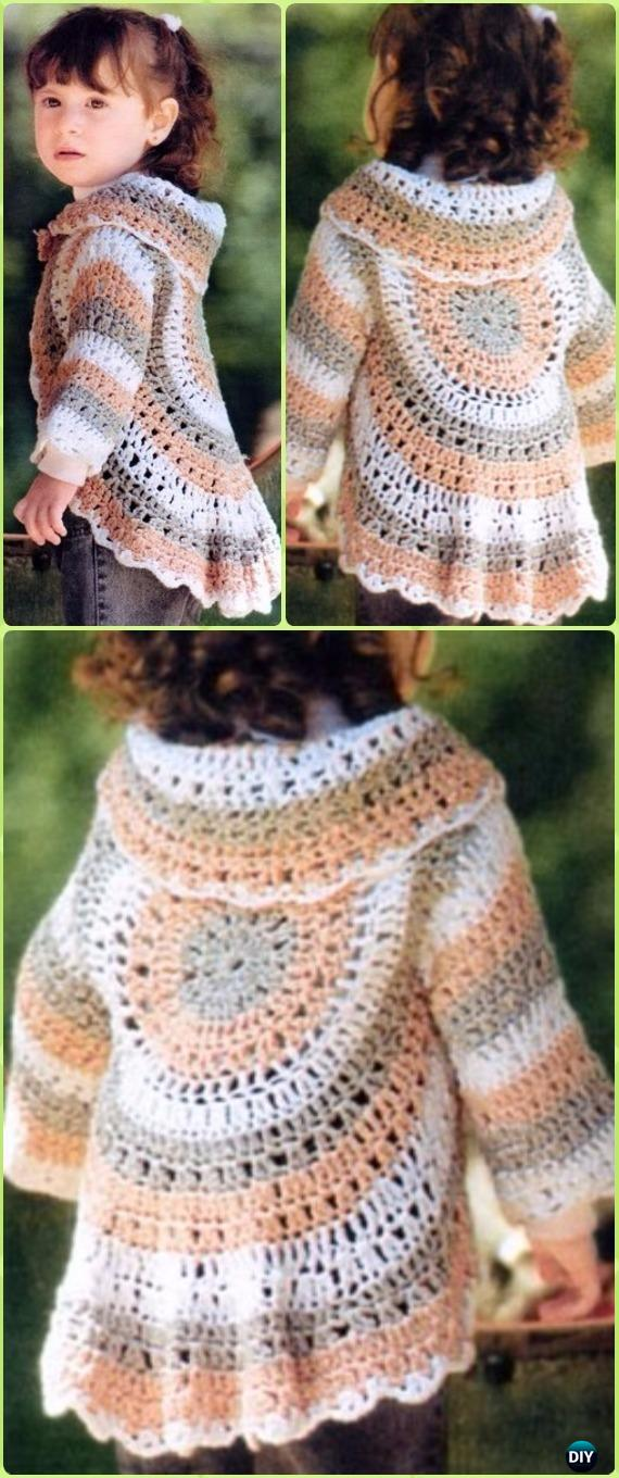 Crochet Little Girl Circle Vest Sweater Coat Free Patterns