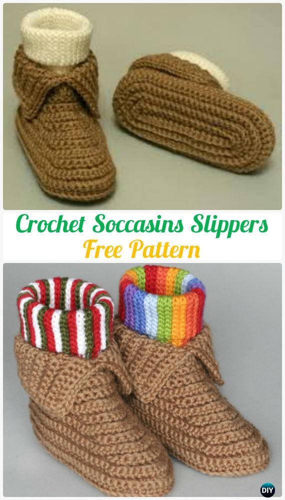Baby Moccasin Shoes >> Crochet Men Slippers Shoes Free Patterns [Instructions]