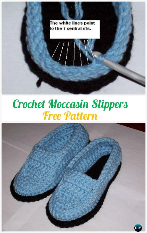 Crocheted Men Moccasin Slippers Free Pattern