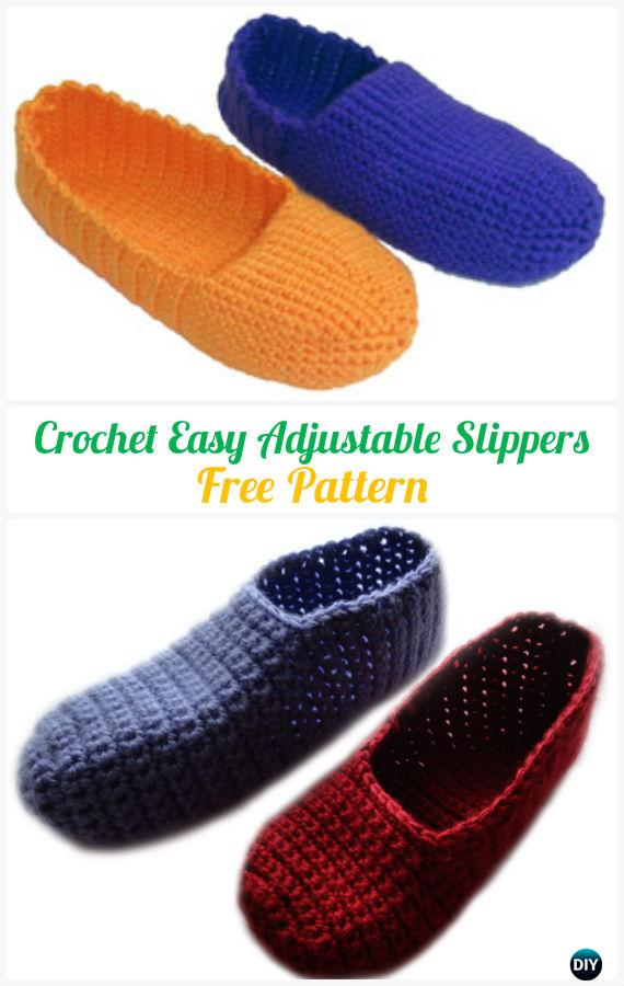 Crochet Easy Adjustable Slippers Free Pattern