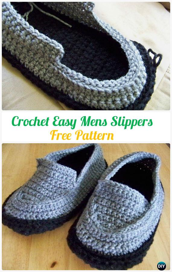 Crochet Men Slippers Shoes Free Patterns Instructions