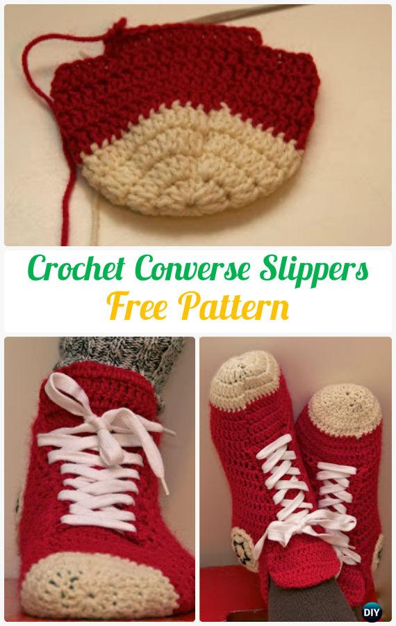 Crochet Men Converse Slippers Shoes Free Patterns Diy How To