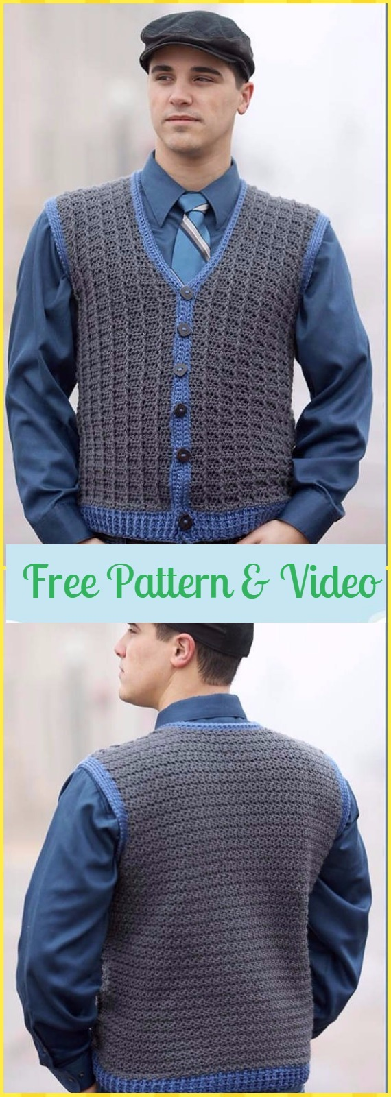 Crochet Sharp Dressed Man Vest Free Pattern & Video - Crochet Men Sweater Free Patterns