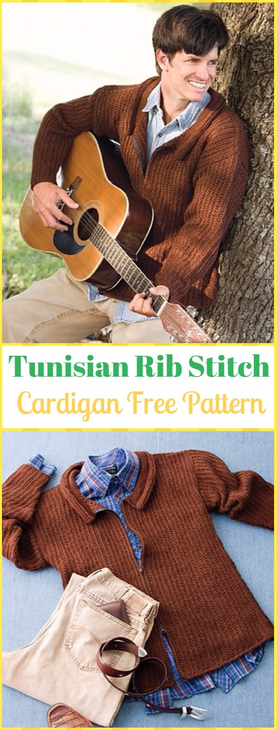 Crochet Tunisian Rib Stitch Zip Front Men Cardigan Free Pattern - Crochet Men Sweater Free Patterns
