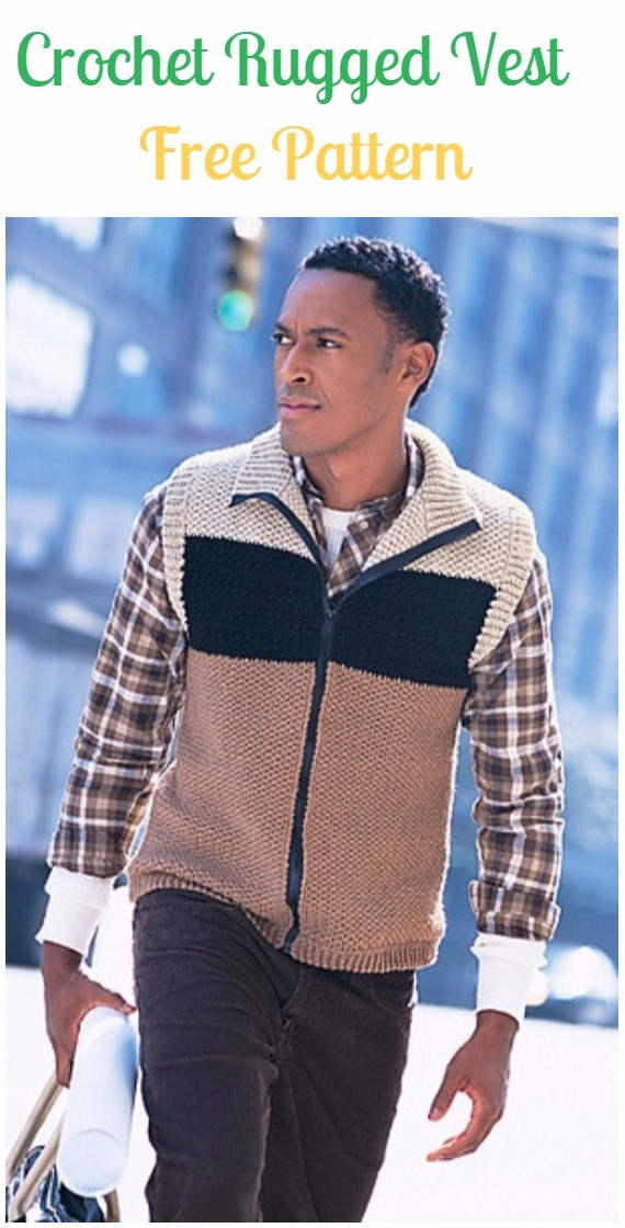Crochet Rugged Vest Free Pattern - Crochet Men Sweater Free Patterns