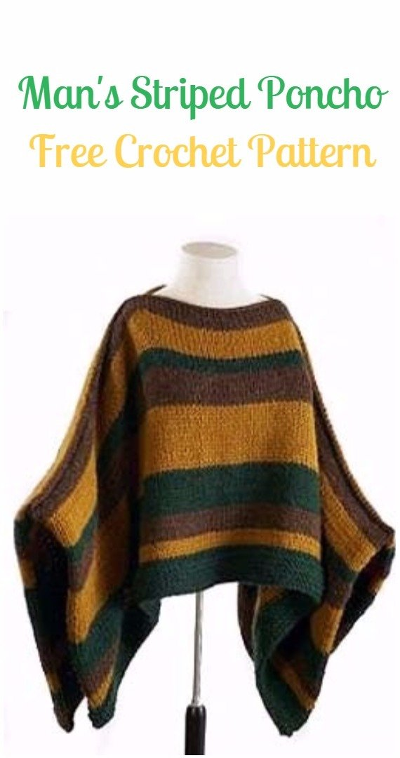 Crochet Man's Striped Poncho Free Pattern - Crochet Men Sweater Free Patterns