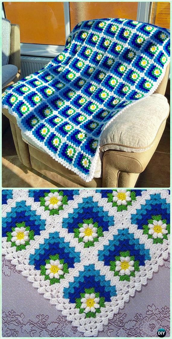 How To Crochet A Granny Square Blanket Pattern : Crochet Mitered Granny Square Blanket Free Patterns
