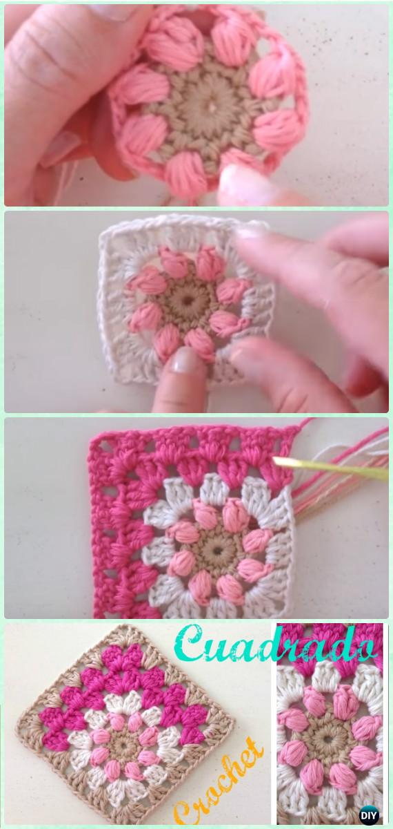 Crochet Mitered Puff Square Free Pattern-Crochet Mitered Granny Square Blanket Free Patterns