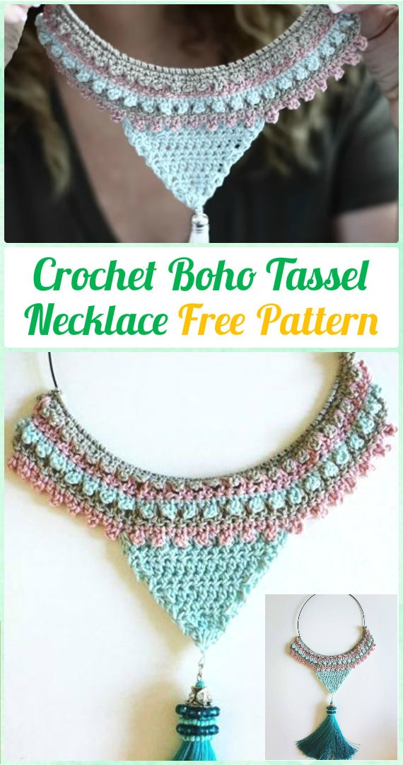 Crochet Boho Tassel Statement Necklace Free Pattern Diy How To