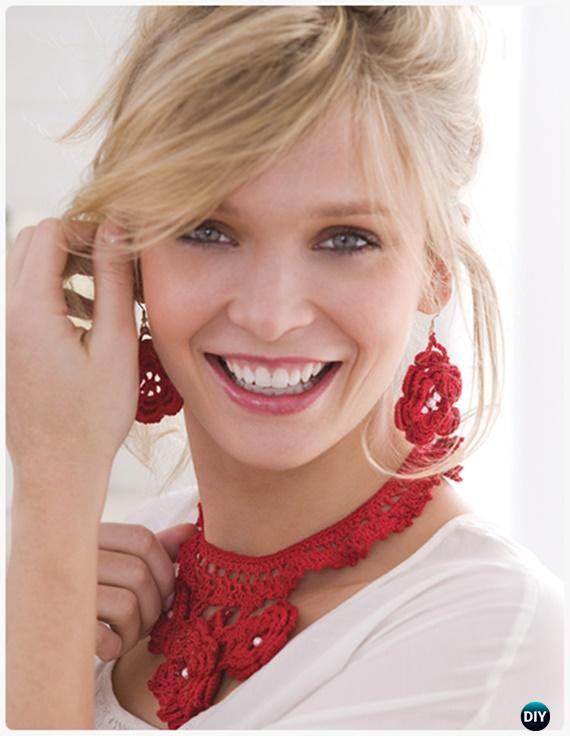 Crochet Sweet Irish Rose Necklace & Earrings FreePattern